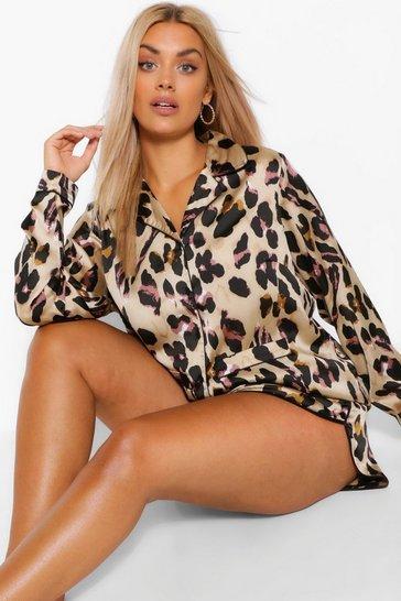 Brown Plus Leopard Shirt and Short PJ Set