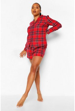 Red Plus Brushed Check Shirt and Shorts Christmas PJ Set
