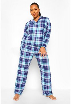 Navy Plus Brushed Check Trouser Christmas PJ Set