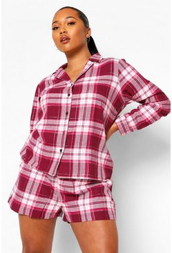 Purple Plus Brushed Check Short PJ Set