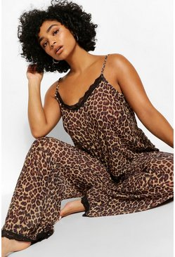 Brown Plus Chiffon Leopard Lace PJ Set