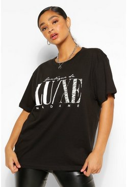 Black Plus Luxe Animal Slogan T-Shirt