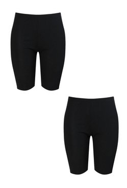 Black Plus 2 Pack Rib Cycle Short