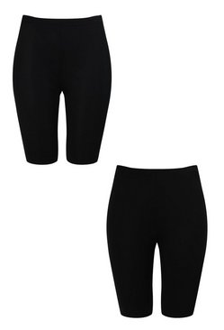 Black Plus 2 Pack Rib & Jersey Cycle Short
