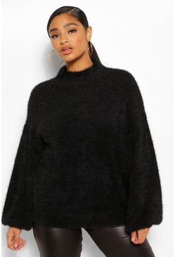 Black Plus Premium Fluffy Knit Balloon Sleeve Jumper