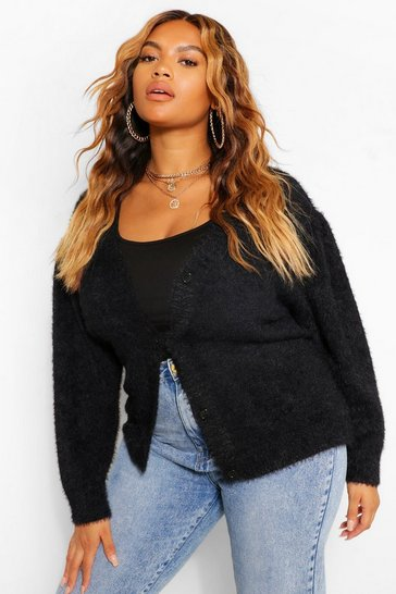 Black Plus Premium Puff Shoulder Cardigan