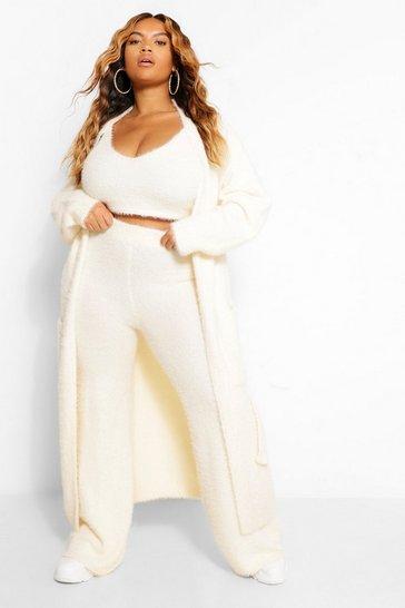 Cream white Plus Premium Soft Knit Maxi Cardigan