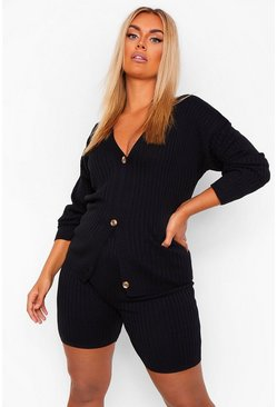 Black Plus Cardigan & Short Knitted Lounge Set