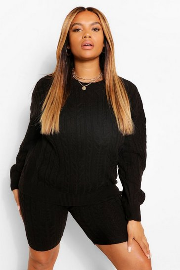 Black Plus Cable Knitted Co -Ord Loungewear Set