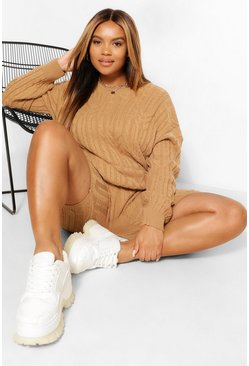 Camel beige Plus Cable Knitted Co -ord Lounge Set
