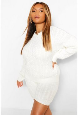 Cream white Plus Cable Knitted Co -ord Lounge Set