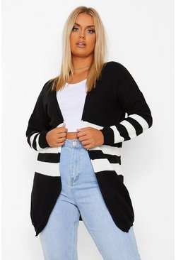 Black Plus Stripe Knit Long Cardigan