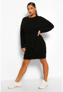Black Plus Waffle Knitted Self Belt Jumper Dress