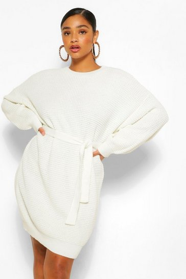 Cream white Plus Waffle Knitted Self Belt Jumper Dress