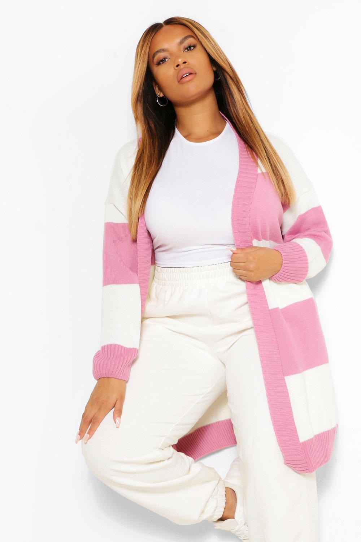 Plus Stripe Oversized Long Cardigan 8
