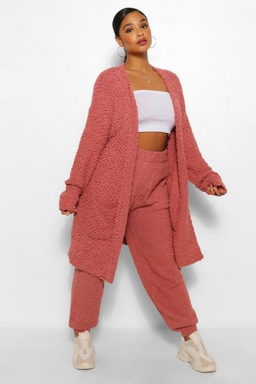 Rose pink Plus Oversized Textured Knit Cardigan