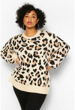 Stone beige Plus Balloon Sleeve Leopard Print Jumper
