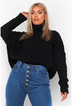 Black Plus Soft Knit Roll Neck Cable Jumper