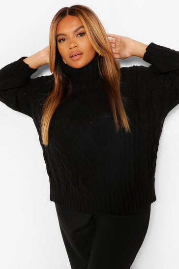 Black Plus Roll Neck Cable Knit Jumper