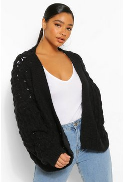 Black Plus Textured Knitted Batwing Cardigan