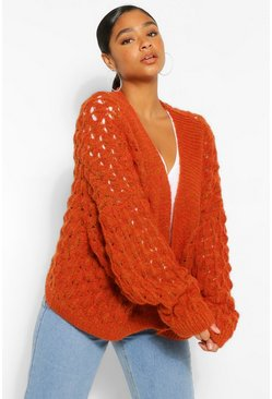 Tan brown Plus Textured Knitted Batwing Cardigan