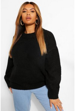 Black Plus Soft Oversized Jumper