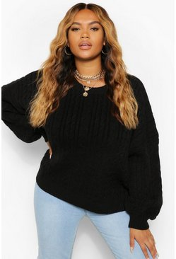 Black Plus Soft Knit Cable Sweater