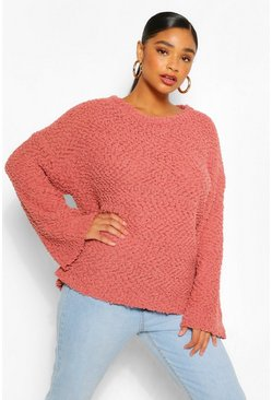 Rose pink Plus Textured Knit Oversized Jumper