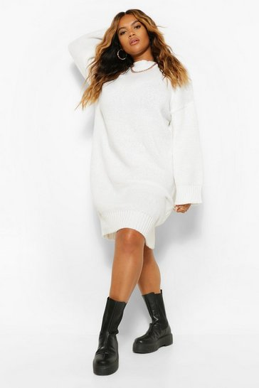 Cream white Plus Oversized Slouchy Knitted Midi Dress