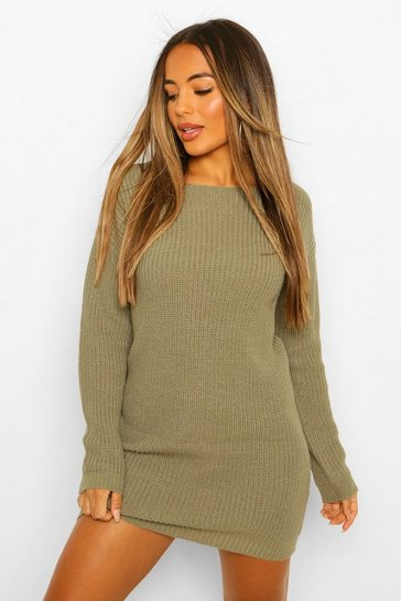 Khaki Petite Knitted V-Back Mini Dress