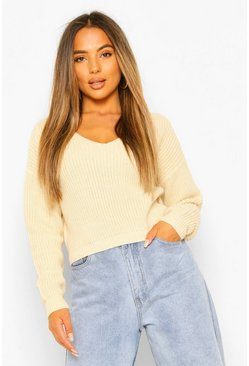 Stone beige Petite Cropped Fisherman V-Neck Jumper