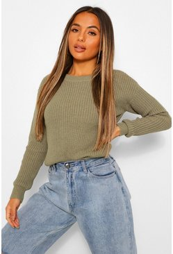 Khaki Petite Fisherman Crew Neck Jumper