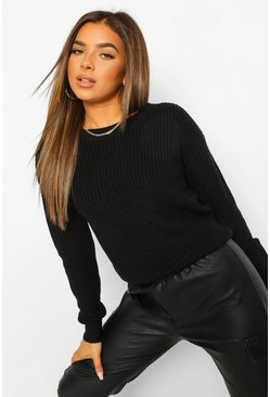 Black Petite Fisherman Crew Neck Jumper
