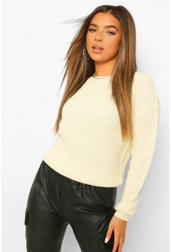 Ecru white Petite Fisherman Crew Neck Jumper