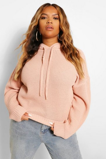 Blush pink Plus Knitted Oversized Hooded Jumper