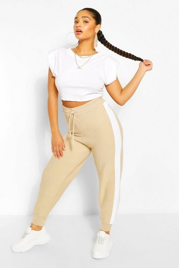 Stone beige Plus Side Stripe Knitted Jogger