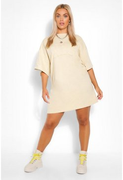 Sand beige Plus Embroidered Oversized NYC T-Shirt Dress