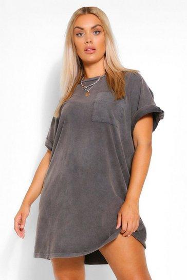 Charcoal grey Plus Acid Wash T-Shirt Dress