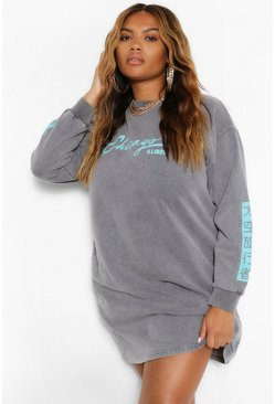 Charcoal grey Plus Acid Wash Slogan Sweat Dress