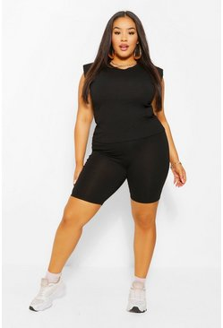 Black Plus Shoulder Pad T-Shirt and Short Set