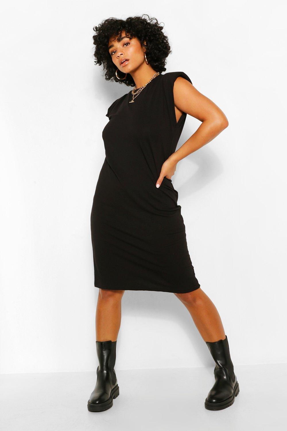 Plus Jersey Shoulder Pad T-Shirt Midi Dress 19