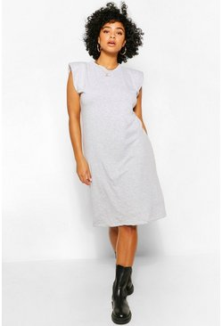 Grey Plus Jersey Shoulder Pad T-Shirt Midi Dress