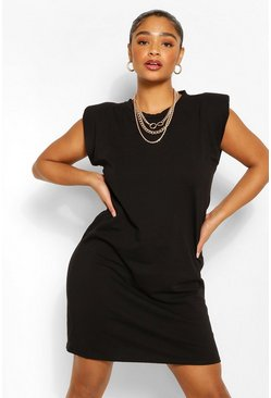 Black Plus Jersey Shoulder Pad T-Shirt Dress