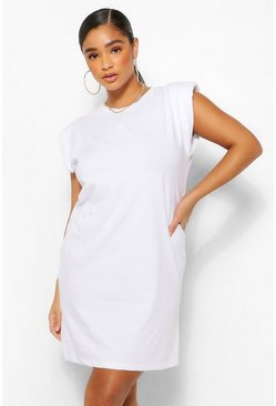 White Plus Jersey Shoulder Pad T-Shirt Dress