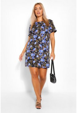 Plus Blue Rose Printed Shift Dress, Black