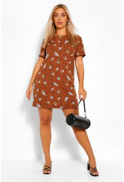 Tan brown Plus Floral Animal Printed Shift Dress