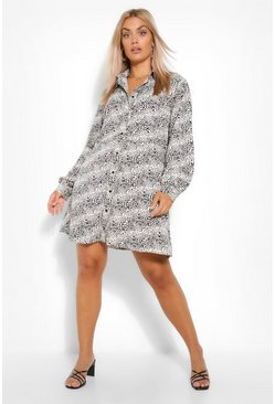 Stone beige Plus Leopard Smock Shirt Dress