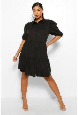 Black Plus Tiered Woven Shirt Dress