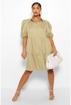 Khaki Plus Tiered Woven Shirt Dress