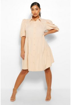 Stone beige Plus Tiered Woven Shirt Dress